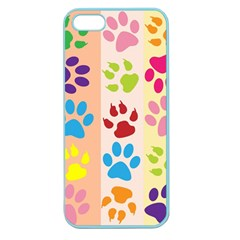 Colorful Animal Paw Prints Background Apple Seamless iPhone 5 Case (Color)