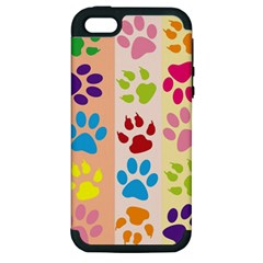 Colorful Animal Paw Prints Background Apple iPhone 5 Hardshell Case (PC+Silicone)