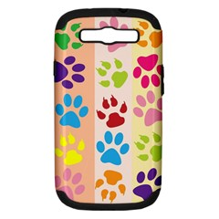 Colorful Animal Paw Prints Background Samsung Galaxy S III Hardshell Case (PC+Silicone)