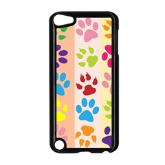 Colorful Animal Paw Prints Background Apple iPod Touch 5 Case (Black)