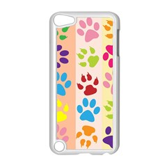 Colorful Animal Paw Prints Background Apple iPod Touch 5 Case (White)