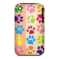 Colorful Animal Paw Prints Background iPhone 3S/3GS