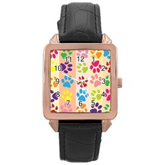 Colorful Animal Paw Prints Background Rose Gold Leather Watch