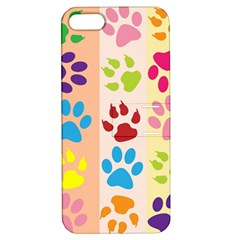 Colorful Animal Paw Prints Background Apple Iphone 5 Hardshell Case With Stand