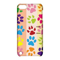 Colorful Animal Paw Prints Background Apple iPod Touch 5 Hardshell Case with Stand