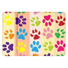 Colorful Animal Paw Prints Background Samsung Galaxy Tab 8.9  P7300 Flip Case