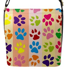 Colorful Animal Paw Prints Background Flap Messenger Bag (S)