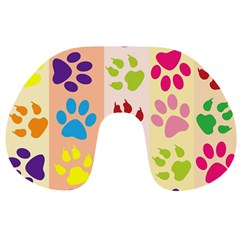 Colorful Animal Paw Prints Background Travel Neck Pillows