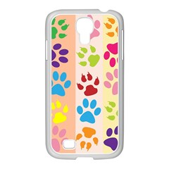 Colorful Animal Paw Prints Background Samsung Galaxy S4 I9500/ I9505 Case (white)