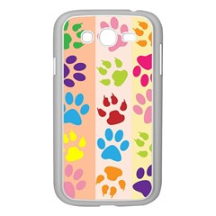 Colorful Animal Paw Prints Background Samsung Galaxy Grand DUOS I9082 Case (White)