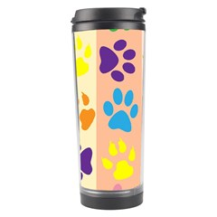 Colorful Animal Paw Prints Background Travel Tumbler