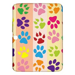 Colorful Animal Paw Prints Background Samsung Galaxy Tab 3 (10 1 ) P5200 Hardshell Case