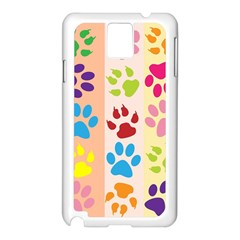 Colorful Animal Paw Prints Background Samsung Galaxy Note 3 N9005 Case (White)