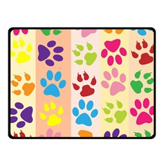 Colorful Animal Paw Prints Background Double Sided Fleece Blanket (Small)