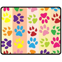Colorful Animal Paw Prints Background Double Sided Fleece Blanket (Medium)