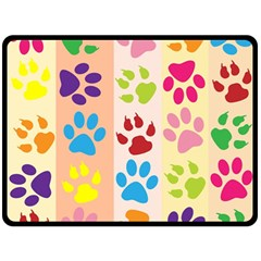 Colorful Animal Paw Prints Background Double Sided Fleece Blanket (Large)