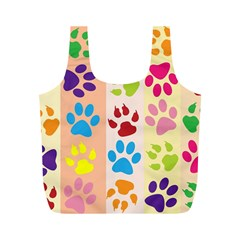 Colorful Animal Paw Prints Background Full Print Recycle Bags (M)