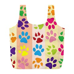 Colorful Animal Paw Prints Background Full Print Recycle Bags (l)