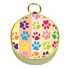 Colorful Animal Paw Prints Background Gold Compasses