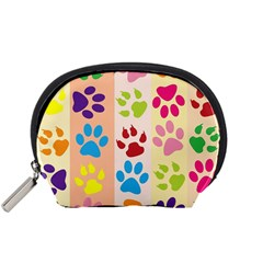 Colorful Animal Paw Prints Background Accessory Pouches (Small)