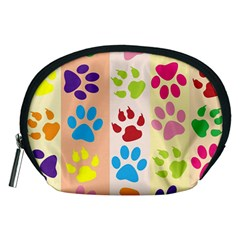 Colorful Animal Paw Prints Background Accessory Pouches (Medium)