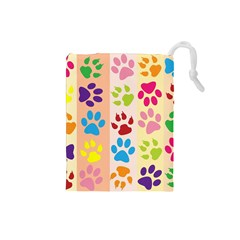 Colorful Animal Paw Prints Background Drawstring Pouches (Small)