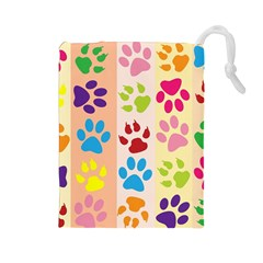 Colorful Animal Paw Prints Background Drawstring Pouches (Large)