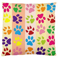 Colorful Animal Paw Prints Background Standard Flano Cushion Case (one Side)