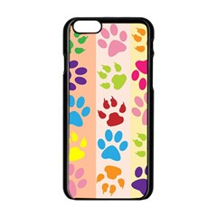 Colorful Animal Paw Prints Background Apple Iphone 6/6s Black Enamel Case