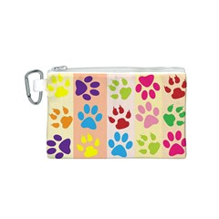 Colorful Animal Paw Prints Background Canvas Cosmetic Bag (s)