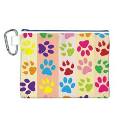 Colorful Animal Paw Prints Background Canvas Cosmetic Bag (L)
