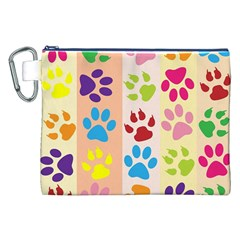 Colorful Animal Paw Prints Background Canvas Cosmetic Bag (xxl)