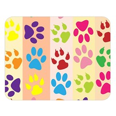 Colorful Animal Paw Prints Background Double Sided Flano Blanket (Large)
