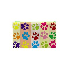 Colorful Animal Paw Prints Background Cosmetic Bag (xs)