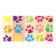 Colorful Animal Paw Prints Background Satin Wrap
