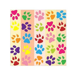 Colorful Animal Paw Prints Background Small Satin Scarf (Square)