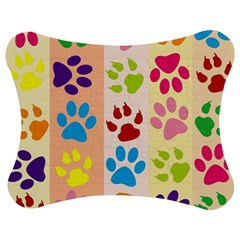 Colorful Animal Paw Prints Background Jigsaw Puzzle Photo Stand (bow)