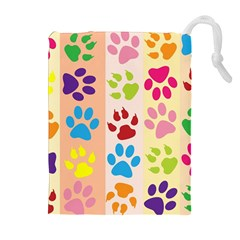 Colorful Animal Paw Prints Background Drawstring Pouches (extra Large)