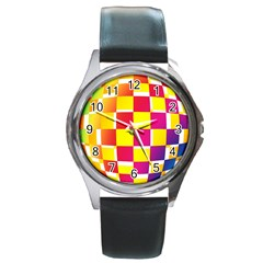 Squares Colored Background Round Metal Watch