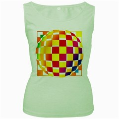 Squares Colored Background Women s Green Tank Top