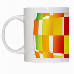 Squares Colored Background White Mugs