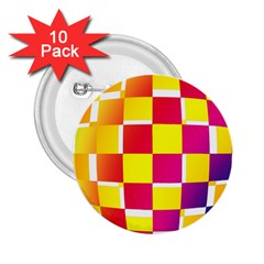 Squares Colored Background 2.25  Buttons (10 pack)