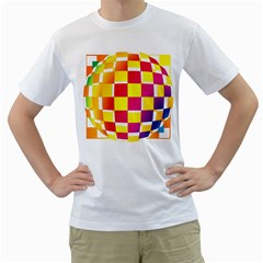 Squares Colored Background Men s T Shirt (white) (two Sided)