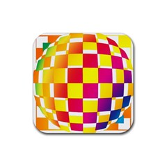Squares Colored Background Rubber Coaster (square)