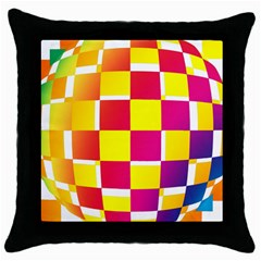 Squares Colored Background Throw Pillow Case (Black)