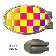 Squares Colored Background Money Clips (Oval)