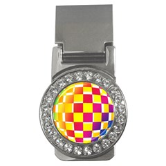 Squares Colored Background Money Clips (CZ)