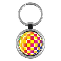 Squares Colored Background Key Chains (round)