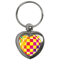 Squares Colored Background Key Chains (Heart)