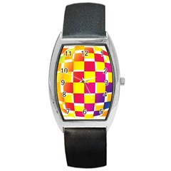 Squares Colored Background Barrel Style Metal Watch